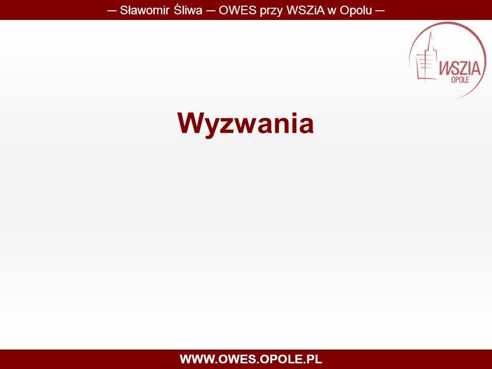 Wyzwania ─ Sławomir Śliwa ─ OWES przy WSZiA w Opolu ─ WWW.OWES.OPOLE.PL