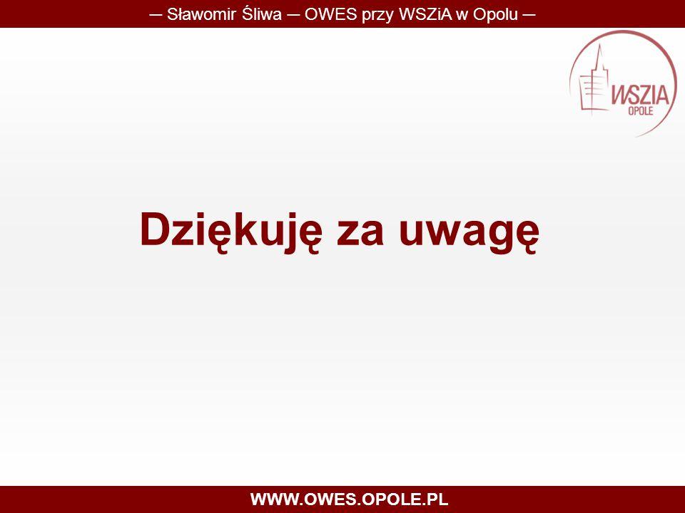 Dziękuję za uwagę ─ Sławomir Śliwa ─ OWES przy WSZiA w Opolu ─ WWW.OWES.OPOLE.PL