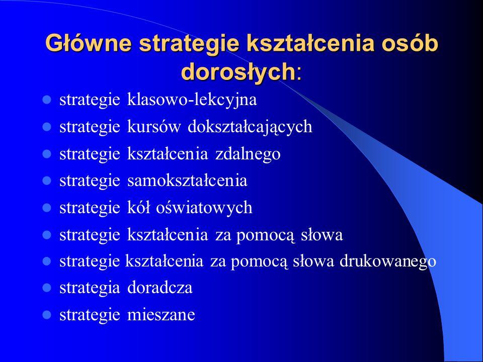 Główne strategie kształcenia osób dorosłych: strategie klasowo-lekcyjna strategie kursów dokształcających strategie kształcenia zdalnego strategie samokształcenia strategie kół oświatowych strategie kształcenia za pomocą słowa strategie kształcenia za pomocą słowa drukowanego strategia doradcza strategie mieszane