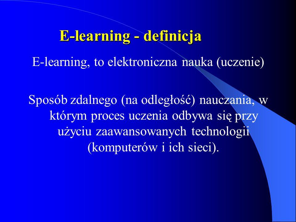 E-learning - definicja E-learning, to elektroniczna nauka (uczenie) Sposób zdalnego (na odległość) nauczania, w którym proces uczenia odbywa się przy użyciu zaawansowanych technologii (komputerów i ich sieci).