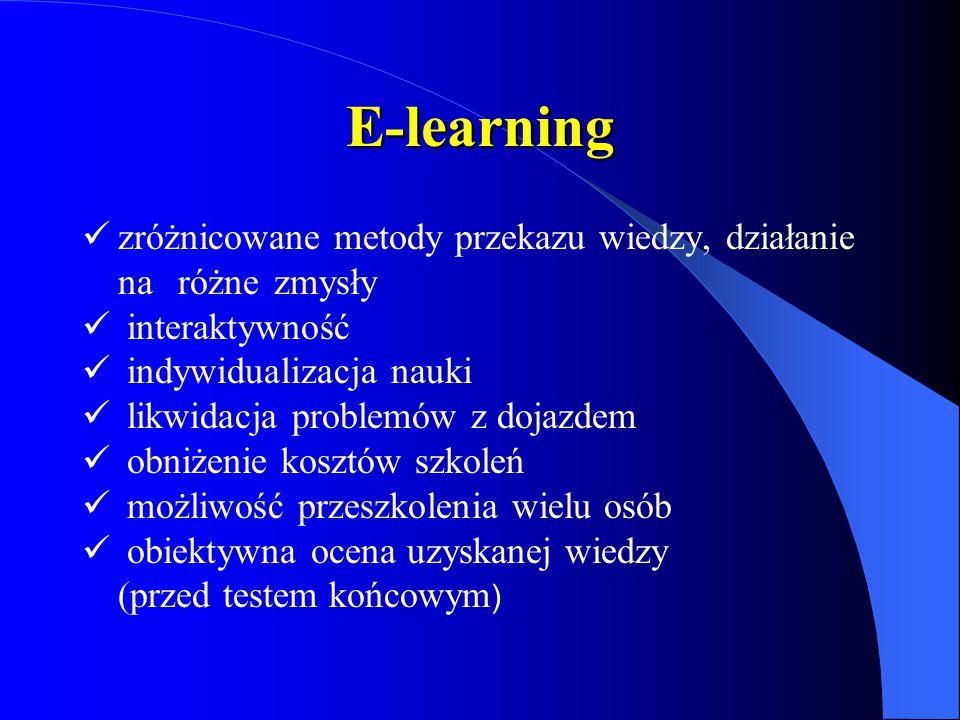 E-learning zróżnicowane metody przekazu wiedzy, działanie na różnezmysły interaktywność indywidualizacja nauki likwidacja problemów z dojazdem obniżenie kosztów szkoleń możliwość przeszkolenia wielu osób obiektywna ocena uzyskanej wiedzy (przed testem końcowym )