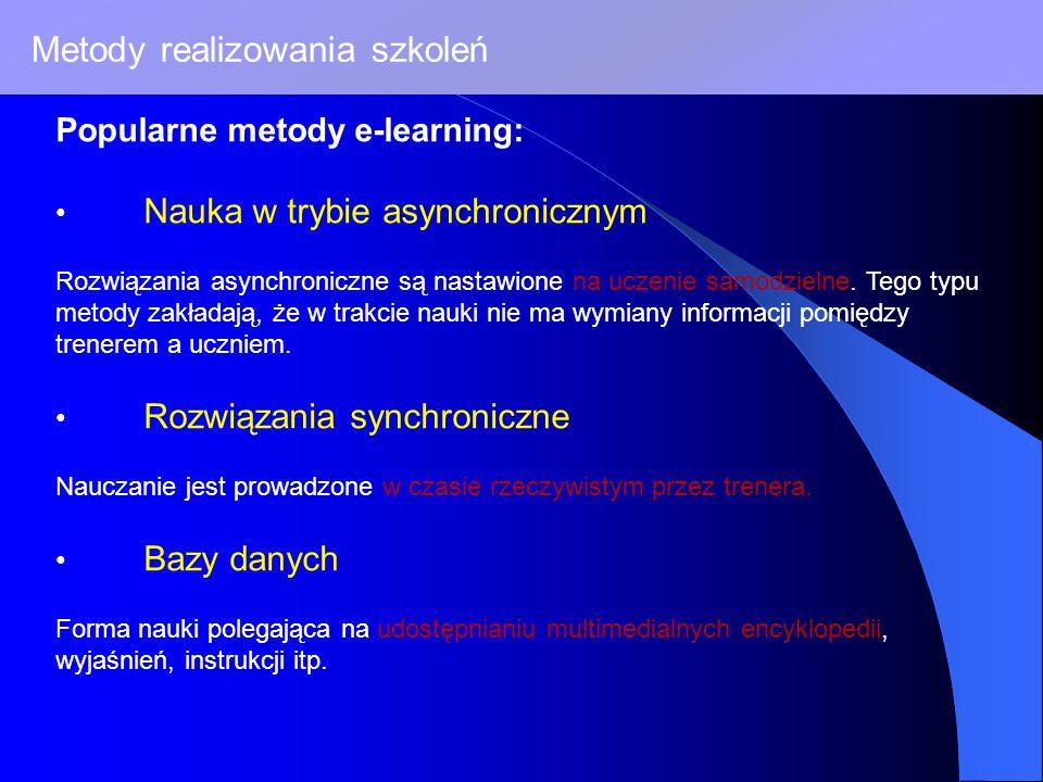 Metody realizowania szkoleń Popularne metody e-learning: Nauka w trybie asynchronicznym Rozwiązania asynchroniczne są nastawione na uczenie samodzielne.