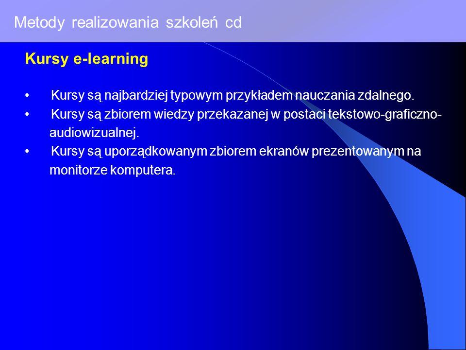 Metody realizowania szkoleń cd Kursy e-learning Kursy są najbardziej typowym przykładem nauczania zdalnego.