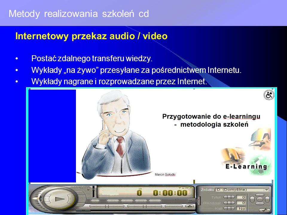 Metody realizowania szkoleń cd Internetowy przekaz audio / video Postać zdalnego transferu wiedzy.