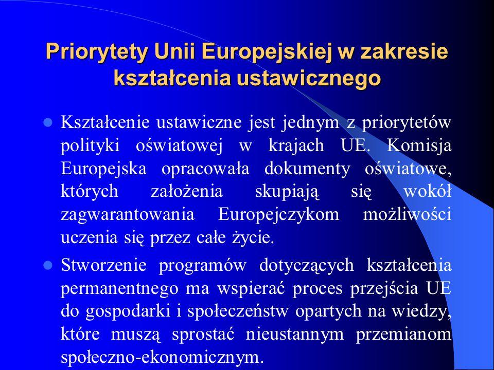 Priorytety Unii Europejskiej w zakresie kształcenia ustawicznego Kształcenie ustawiczne jest jednym z priorytetów polityki oświatowej w krajach UE.