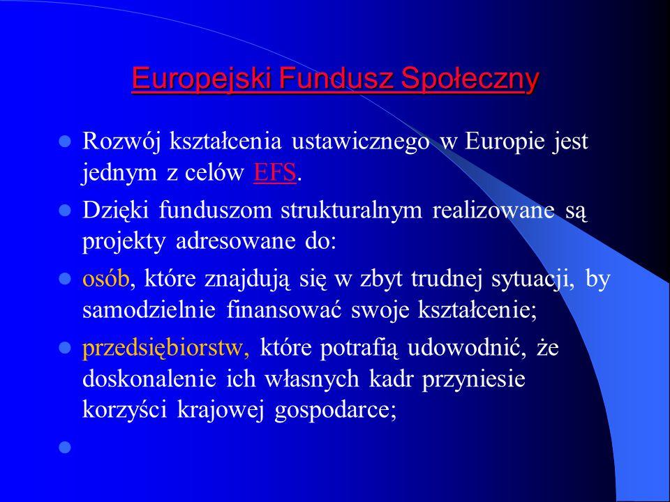 Europejski Fundusz SpołecznEuropejski Fundusz Społeczny Europejski Fundusz Społeczn Rozwój kształcenia ustawicznego w Europie jest jednym z celów EFS.EFS Dzięki funduszom strukturalnym realizowane są projekty adresowane do: osób, które znajdują się w zbyt trudnej sytuacji, by samodzielnie finansować swoje kształcenie; przedsiębiorstw, które potrafią udowodnić, że doskonalenie ich własnych kadr przyniesie korzyści krajowej gospodarce;
