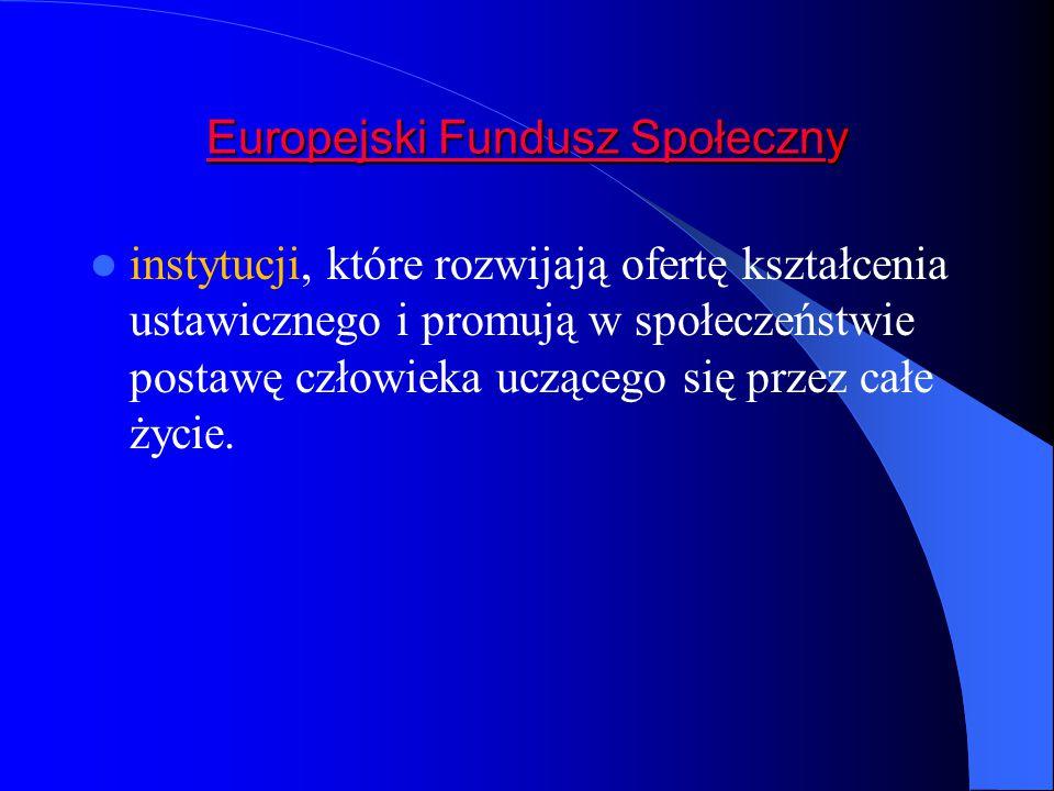 Europejski Fundusz SpołecznEuropejski Fundusz Społeczny Europejski Fundusz Społeczn instytucji, które rozwijają ofertę kształcenia ustawicznego i promują w społeczeństwie postawę człowieka uczącego się przez całe życie.