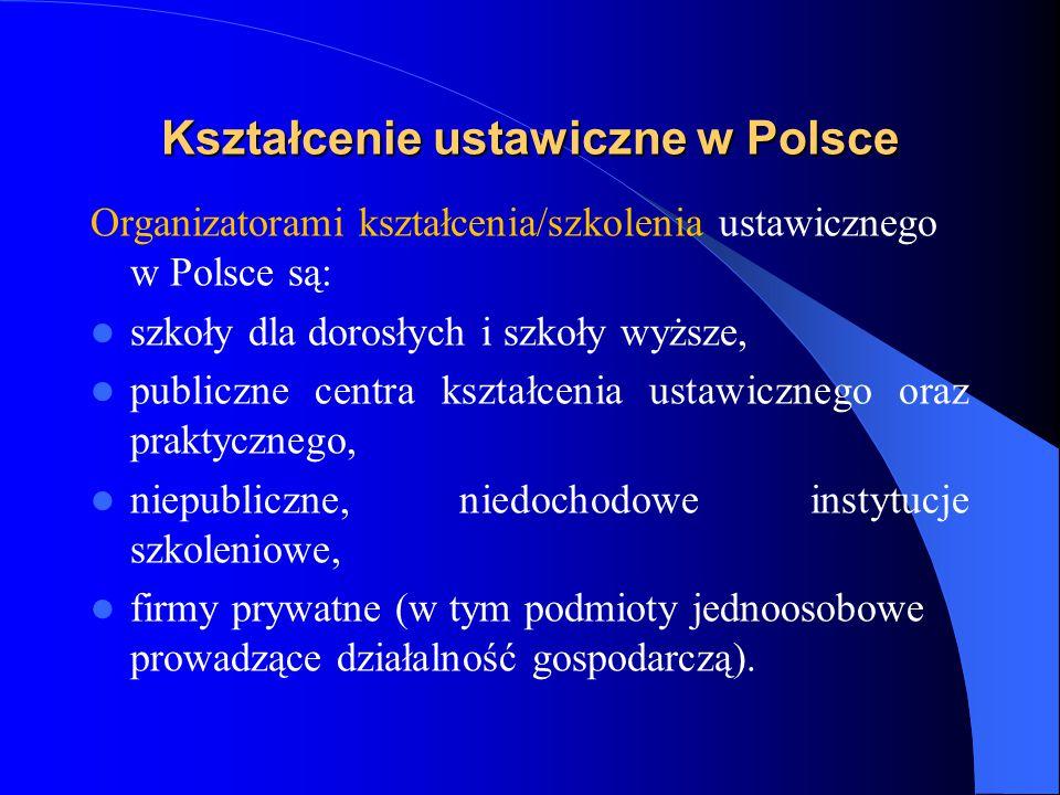 Kształcenie ustawiczne w Polsce Organizatorami kształcenia/szkolenia ustawicznego w Polsce są: szkoły dla dorosłych i szkoły wyższe, publiczne centra kształcenia ustawicznego oraz praktycznego, niepubliczne, niedochodowe instytucje szkoleniowe, firmy prywatne (w tym podmioty jednoosobowe prowadzące działalność gospodarczą).