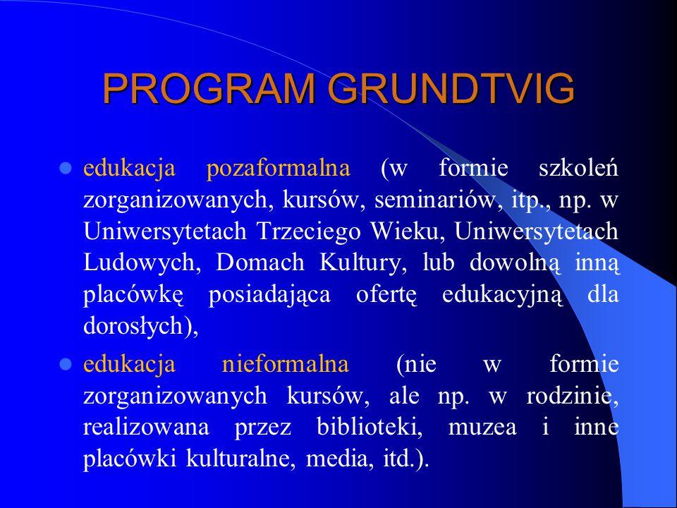 PROGRAM GRUNDTVIG edukacja pozaformalna (w formie szkoleń zorganizowanych, kursów, seminariów, itp., np.