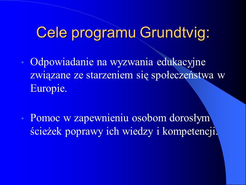 Cele programu Grundtvig: Odpowiadanie na wyzwania edukacyjne związane ze starzeniem się społeczeństwa w Europie.