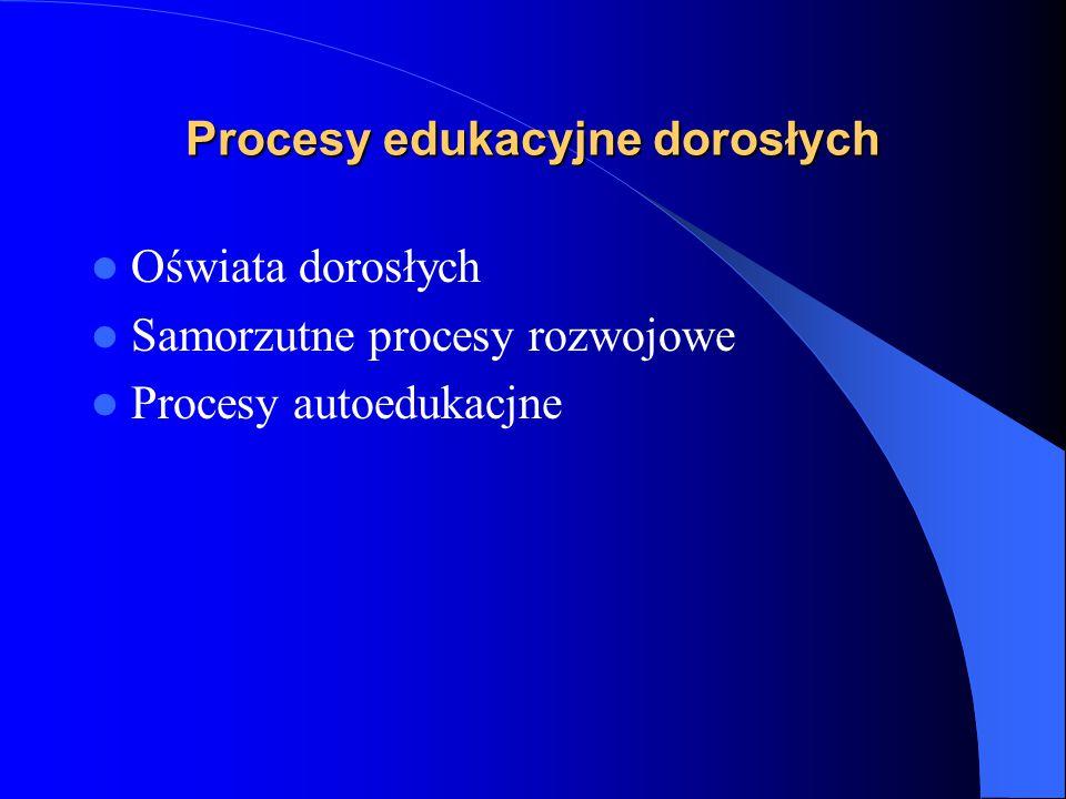 Procesy edukacyjne dorosłych Oświata dorosłych Samorzutne procesy rozwojowe Procesy autoedukacjne