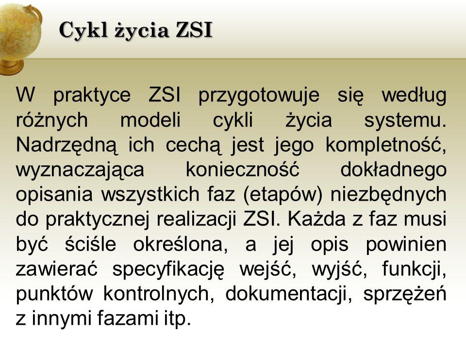 W praktyce ZSI przygotowuje się według różnych modeli cykli życia systemu. Nadrzędną ich cechą jest jego kompletność, wyznaczająca konieczność dokładn