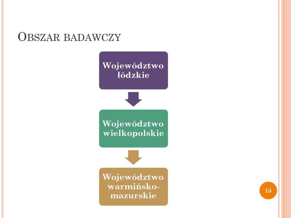 O BSZAR BADAWCZY Województwo łódzkie Województwo wielkopolskie Województwo warmińsko- mazurskie 15