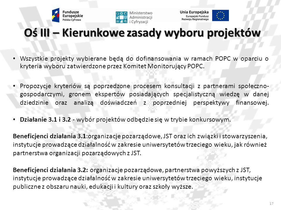17 Oś III – Kierunkowe zasady wyboru projektów Wszystkie projekty wybierane będą do dofinansowania w ramach POPC w oparciu o kryteria wyboru zatwierdz