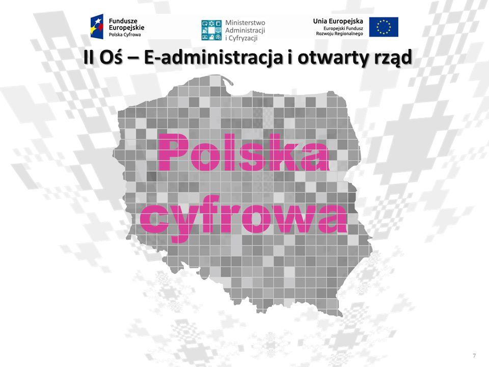 8 Oś II – E-administracja i otwarty rząd Cele szczegółowe realizowane w osi II: 2: Wysoka dostępność i jakość e-usług publicznych; Działanie 2.1.
