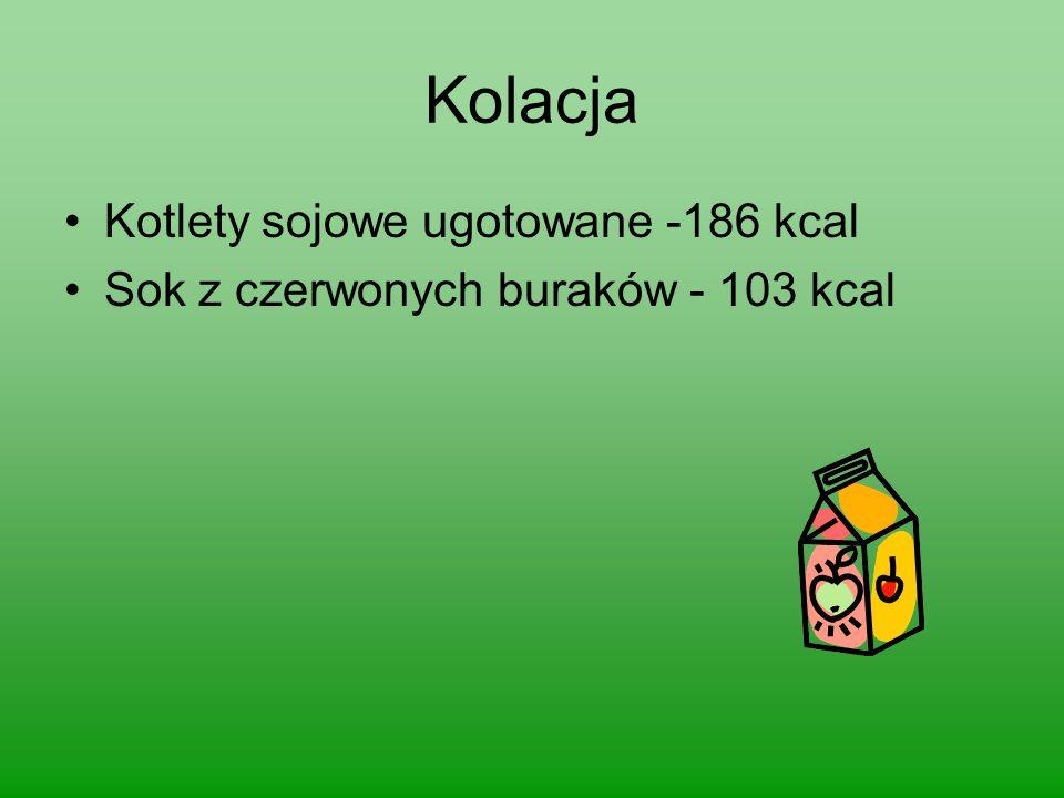 Kolacja Kotlety sojowe ugotowane -186 kcal Sok z czerwonych buraków - 103 kcal
