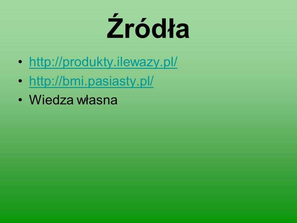 Źródła http://produkty.ilewazy.pl/ http://bmi.pasiasty.pl/ Wiedza własna