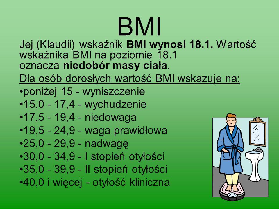 BMI Jej (Klaudii) wskaźnik BMI wynosi 18.1. Wartość wskaźnika BMI na poziomie 18.1 oznacza niedobór masy ciała. Dla osób dorosłych wartość BMI wskazuj