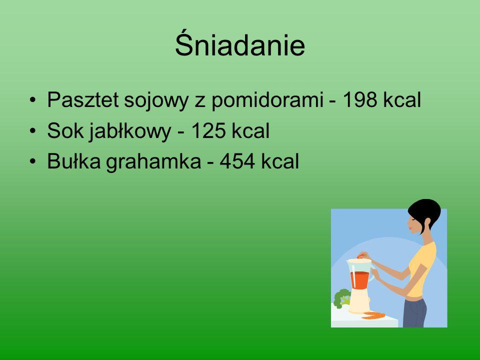 Śniadanie Pasztet sojowy z pomidorami - 198 kcal Sok jabłkowy - 125 kcal Bułka grahamka - 454 kcal
