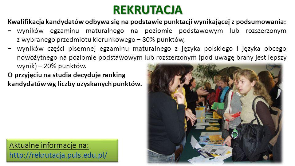 REKRUTACJA Kwalifikacja kandydatów odbywa się na podstawie punktacji wynikającej z podsumowania: ‒wyników egzaminu maturalnego na poziomie podstawowym