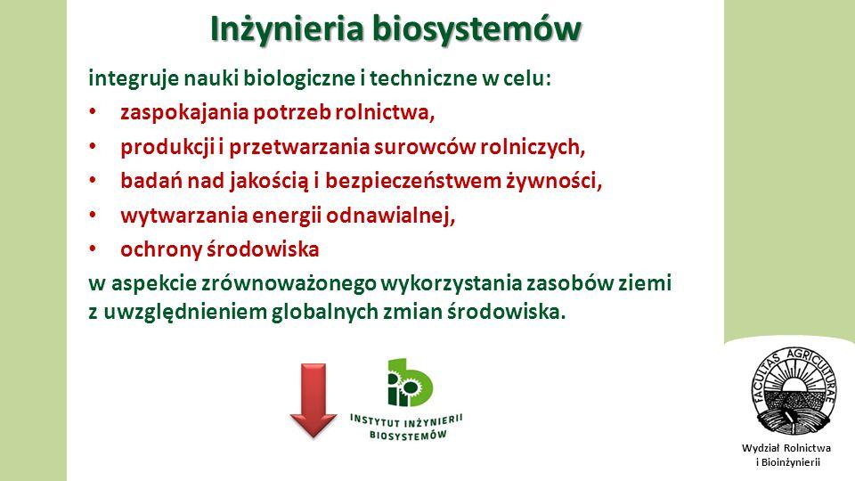 Wydział Rolnictwa i Bioinżynierii Inżynieria biosystemów integruje nauki biologiczne i techniczne w celu: zaspokajania potrzeb rolnictwa, produkcji i