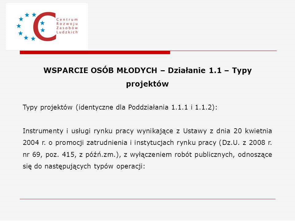 WSPARCIE OSÓB MŁODYCH – Działanie 1.1 – Typy projektów Typy projektów (identyczne dla Poddziałania 1.1.1 i 1.1.2): Instrumenty i usługi rynku pracy wy