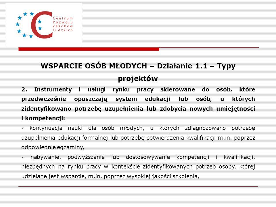 WSPARCIE OSÓB MŁODYCH – Działanie 1.1 – Typy projektów 2. Instrumenty i usługi rynku pracy skierowane do osób, które przedwcześnie opuszczają system e