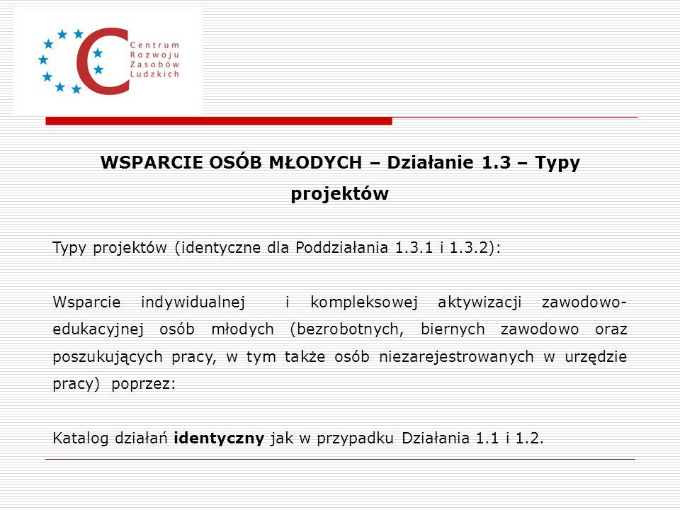 WSPARCIE OSÓB MŁODYCH – Działanie 1.3 – Typy projektów Typy projektów (identyczne dla Poddziałania 1.3.1 i 1.3.2): Wsparcie indywidualnej i kompleksow