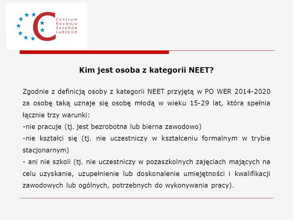 Kim jest osoba z kategorii NEET? Zgodnie z definicją osoby z kategorii NEET przyjętą w PO WER 2014-2020 za osobę taką uznaje się osobę młodą w wieku 1