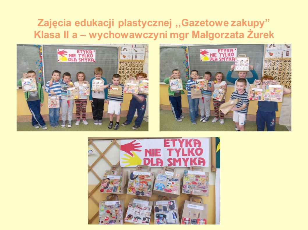 """Zajęcia edukacji plastycznej,,Gazetowe zakupy"""" Klasa II a – wychowawczyni mgr Małgorzata Żurek"""
