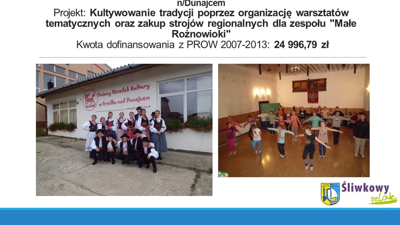 Działanie: Małe projekty, Beneficjent: Gminny Ośrodek Kultury w Gródku n/Dunajcem Projekt: Kultywowanie tradycji poprzez organizację warsztatów tematy