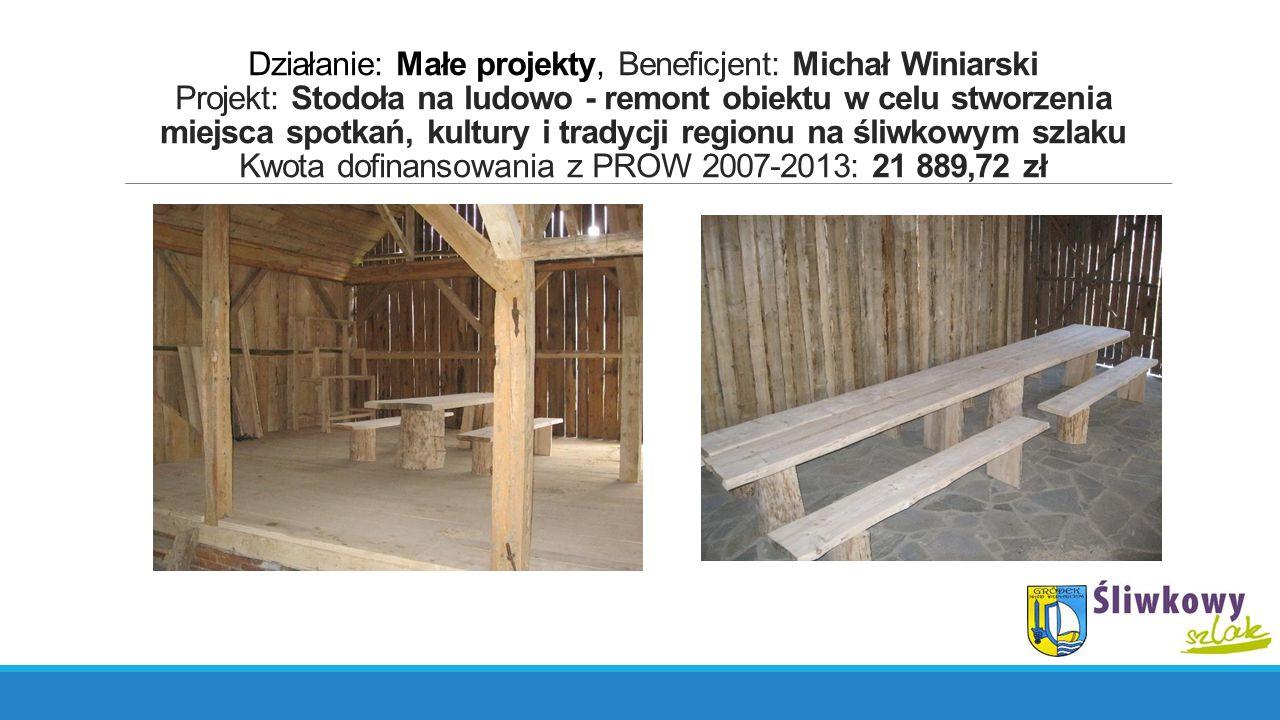 Działanie: Małe projekty, Beneficjent: Michał Winiarski Projekt: Stodoła na ludowo - remont obiektu w celu stworzenia miejsca spotkań, kultury i tradycji regionu na śliwkowym szlaku Kwota dofinansowania z PROW 2007-2013: 21 889,72 zł