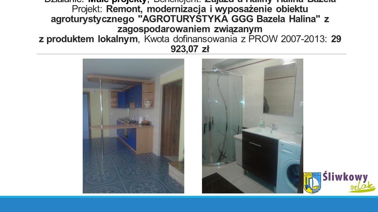 Działanie: Małe projekty, Beneficjent: Zajazd u Haliny Halina Bazela Projekt: Remont, modernizacja i wyposażenie obiektu agroturystycznego