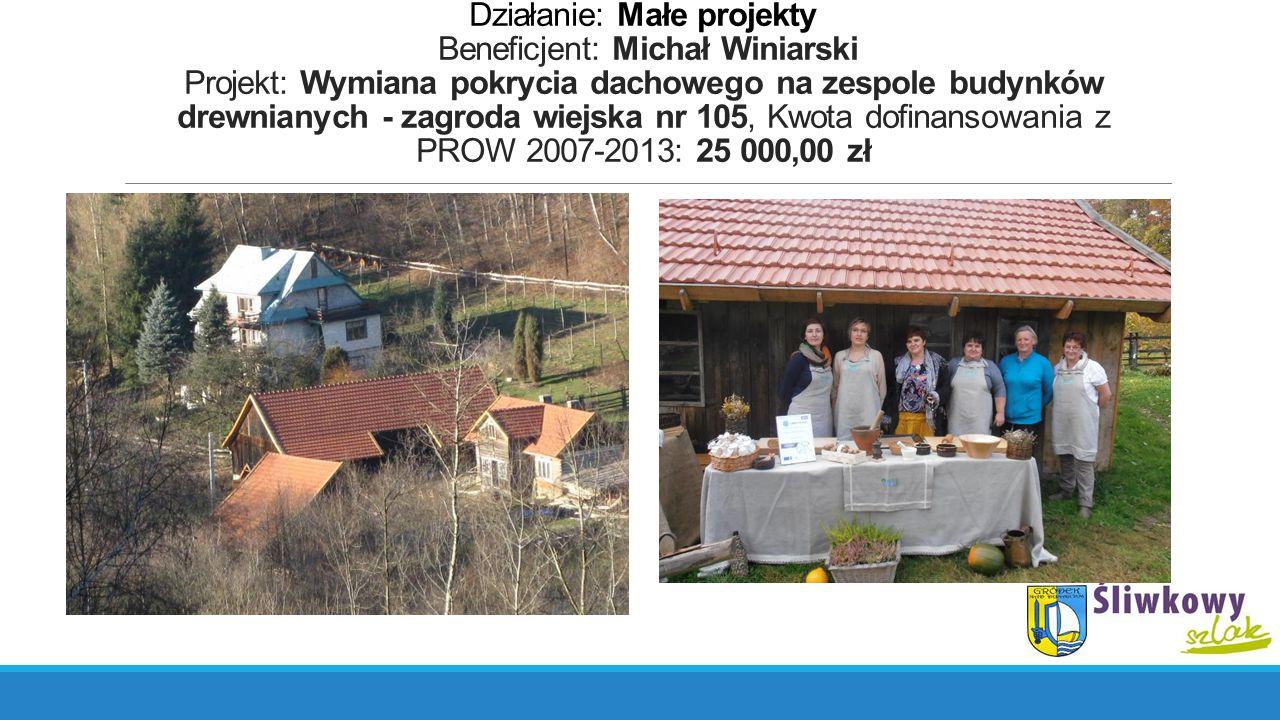 Działanie: Małe projekty Beneficjent: Michał Winiarski Projekt: Wymiana pokrycia dachowego na zespole budynków drewnianych - zagroda wiejska nr 105, K