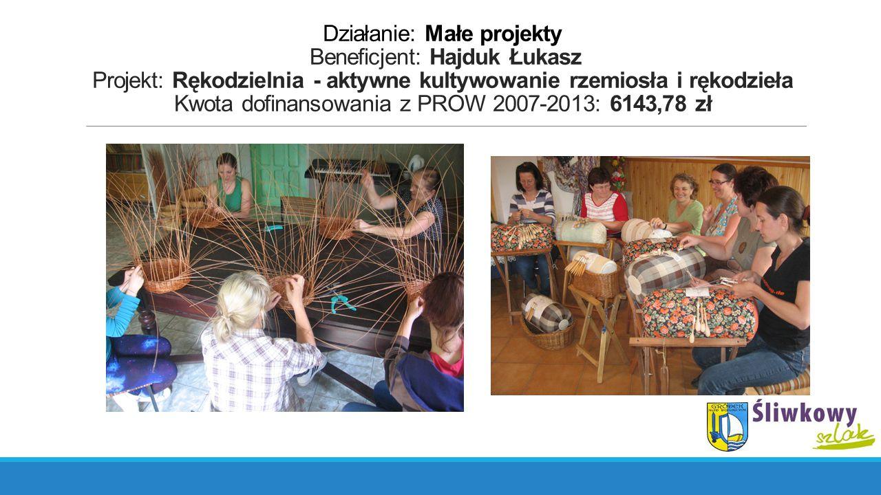 Działanie: Małe projekty Beneficjent: Hajduk Łukasz Projekt: Rękodzielnia - aktywne kultywowanie rzemiosła i rękodzieła Kwota dofinansowania z PROW 2007-2013: 6143,78 zł