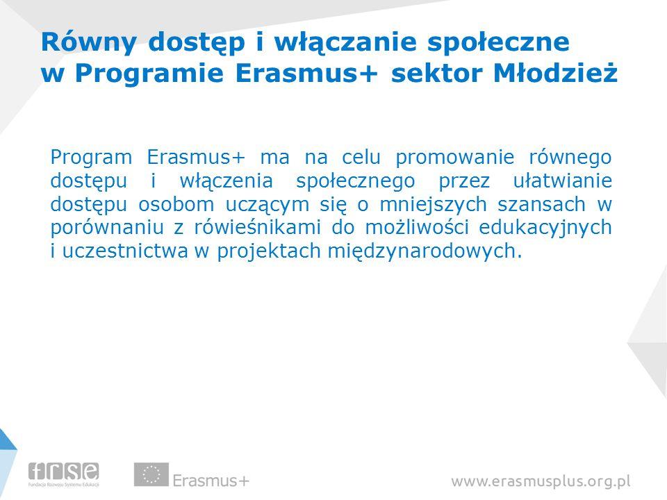 Równy dostęp i włączanie społeczne w Programie Erasmus+ sektor Młodzież Program Erasmus+ ma na celu promowanie równego dostępu i włączenia społecznego przez ułatwianie dostępu osobom uczącym się o mniejszych szansach w porównaniu z rówieśnikami do możliwości edukacyjnych i uczestnictwa w projektach międzynarodowych.