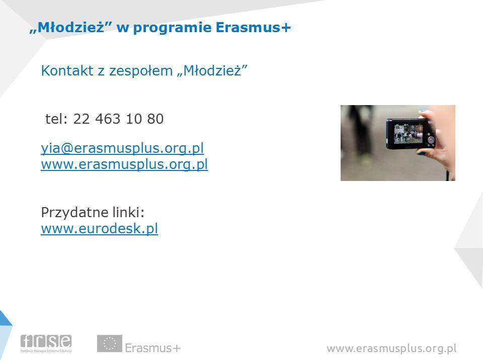 """""""Młodzież w programie Erasmus+ Kontakt z zespołem """"Młodzież tel: 22 463 10 80 yia@erasmusplus.org.pl www.erasmusplus.org.pl Przydatne linki: www.eurodesk.pl"""