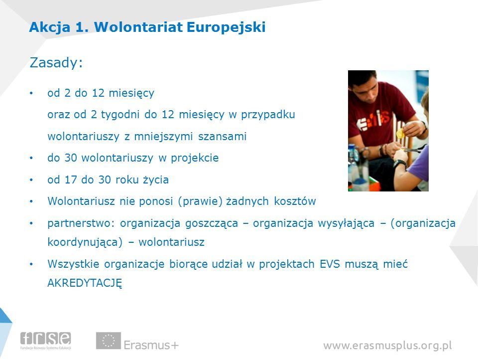 Akcja 1. Wolontariat Europejski Zasady: od 2 do 12 miesięcy oraz od 2 tygodni do 12 miesięcy w przypadku wolontariuszy z mniejszymi szansami do 30 wol