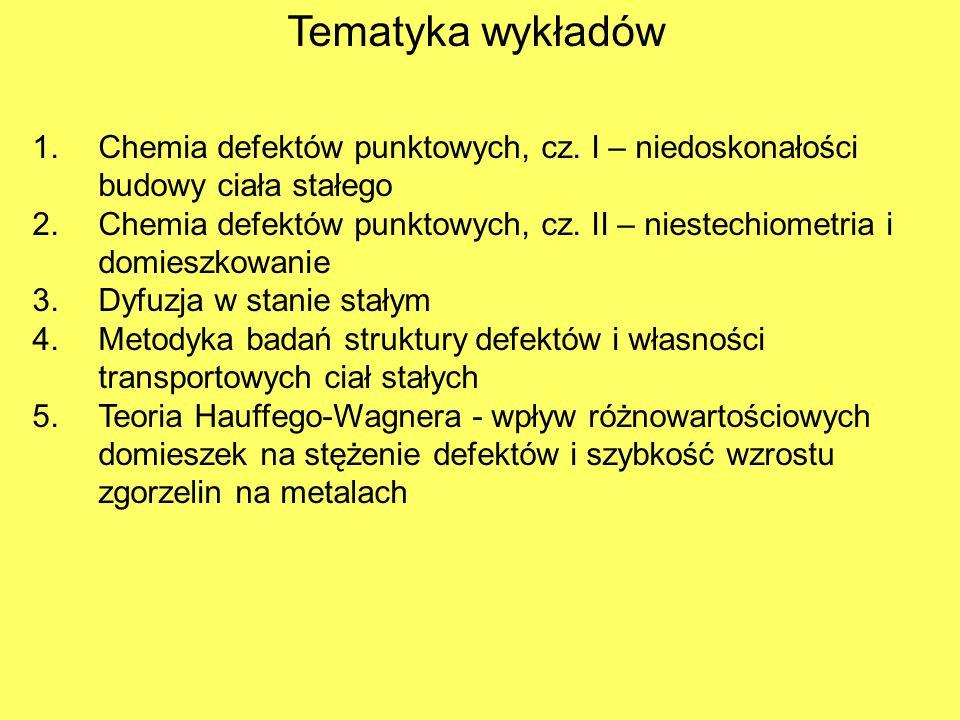 Tematyka wykładów 1.Chemia defektów punktowych, cz. I – niedoskonałości budowy ciała stałego 2.Chemia defektów punktowych, cz. II – niestechiometria i