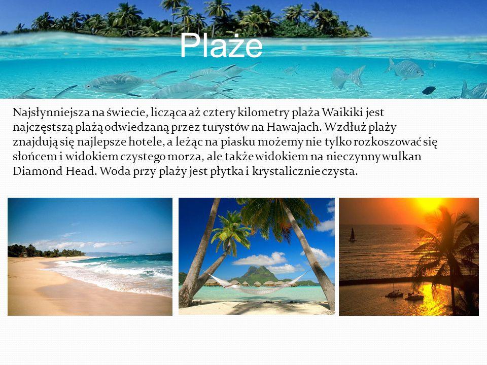 Plaże Najsłynniejsza na świecie, licząca aż cztery kilometry plaża Waikiki jest najczęstszą plażą odwiedzaną przez turystów na Hawajach. Wzdłuż plaży