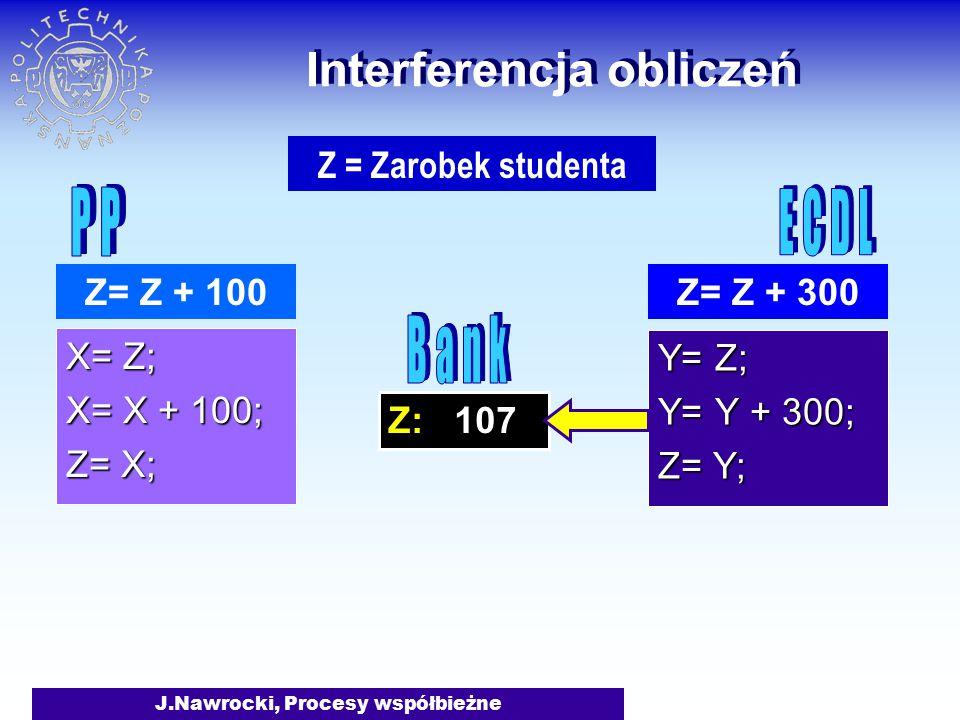 J.Nawrocki, Procesy współbieżne Z: 107 Interferencja obliczeń X= Z; X= X + 100; Z= X; Y= Z; Y= Y + 300; Z= Y; Z= Z + 100Z= Z + 300 Z = Zarobek studenta