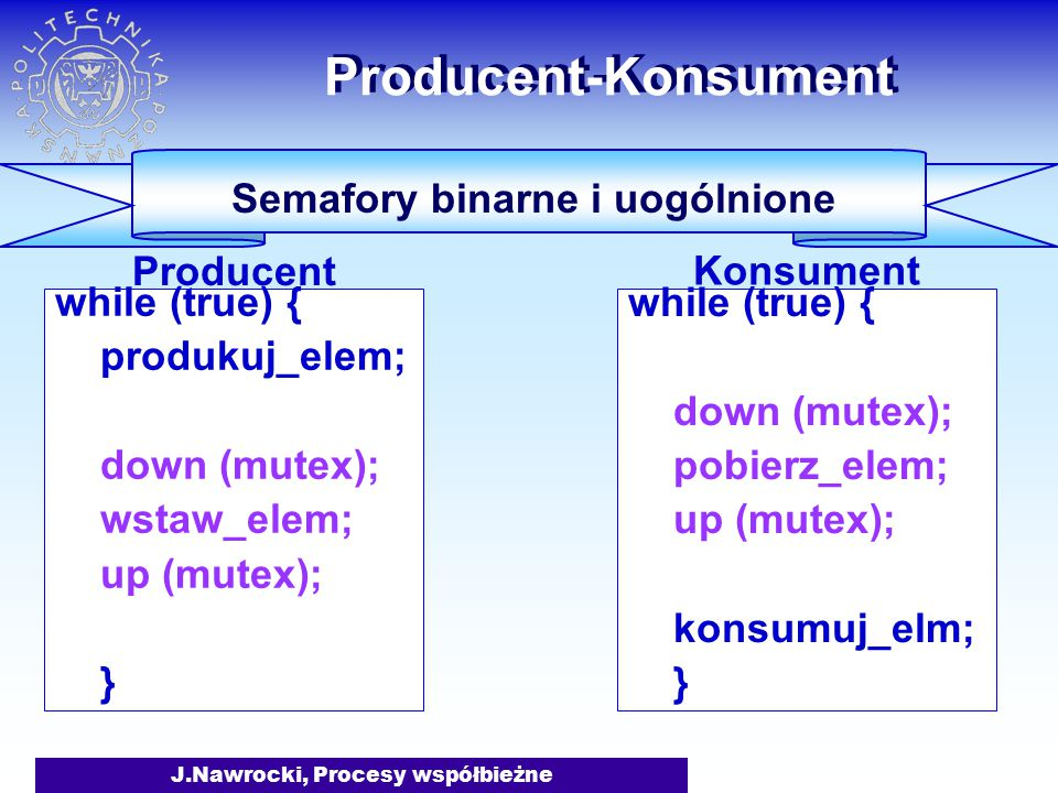 J.Nawrocki, Procesy współbieżne while (true) { produkuj_elem; down (mutex); wstaw_elem; up (mutex); } Producent-Konsument Semafory binarne i uogólnione Producent while (true) { down (mutex); pobierz_elem; up (mutex); konsumuj_elm; } Konsument