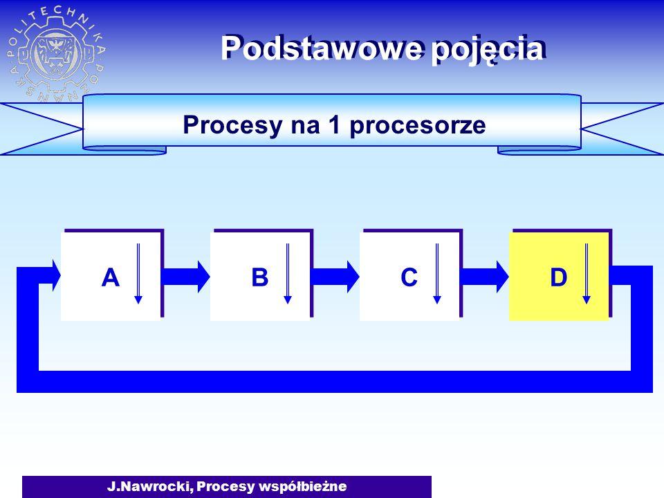 J.Nawrocki, Procesy współbieżne Procesy na 1 procesorze Podstawowe pojęcia A A B B C C D D