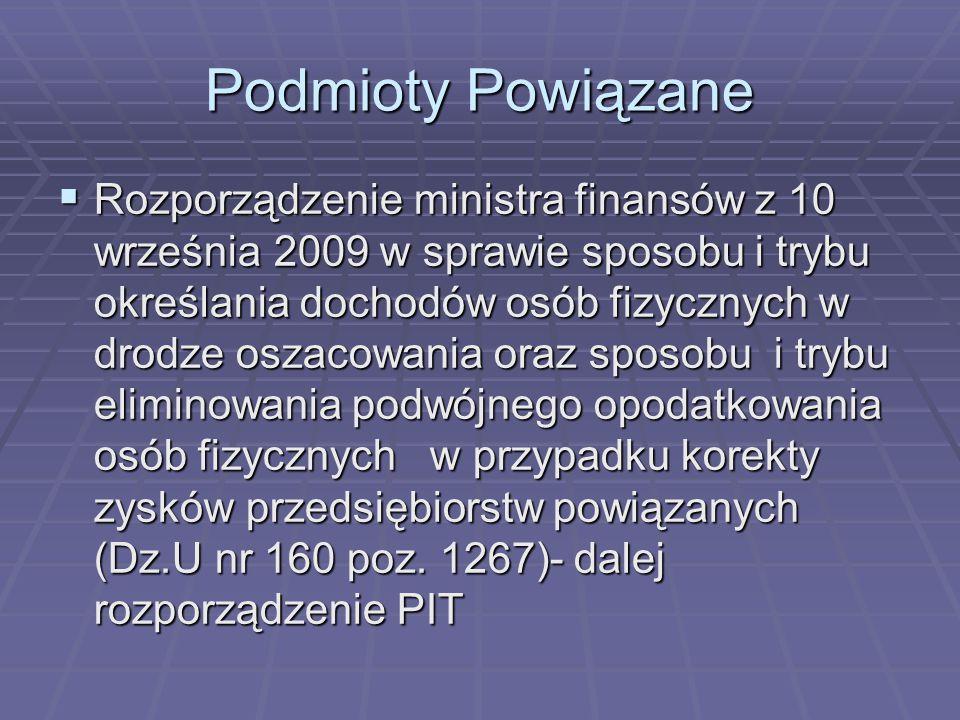 Podmioty Powiązane  Rozporządzenie ministra finansów z 10 września 2009 w sprawie sposobu i trybu określania dochodów osób fizycznych w drodze oszaco