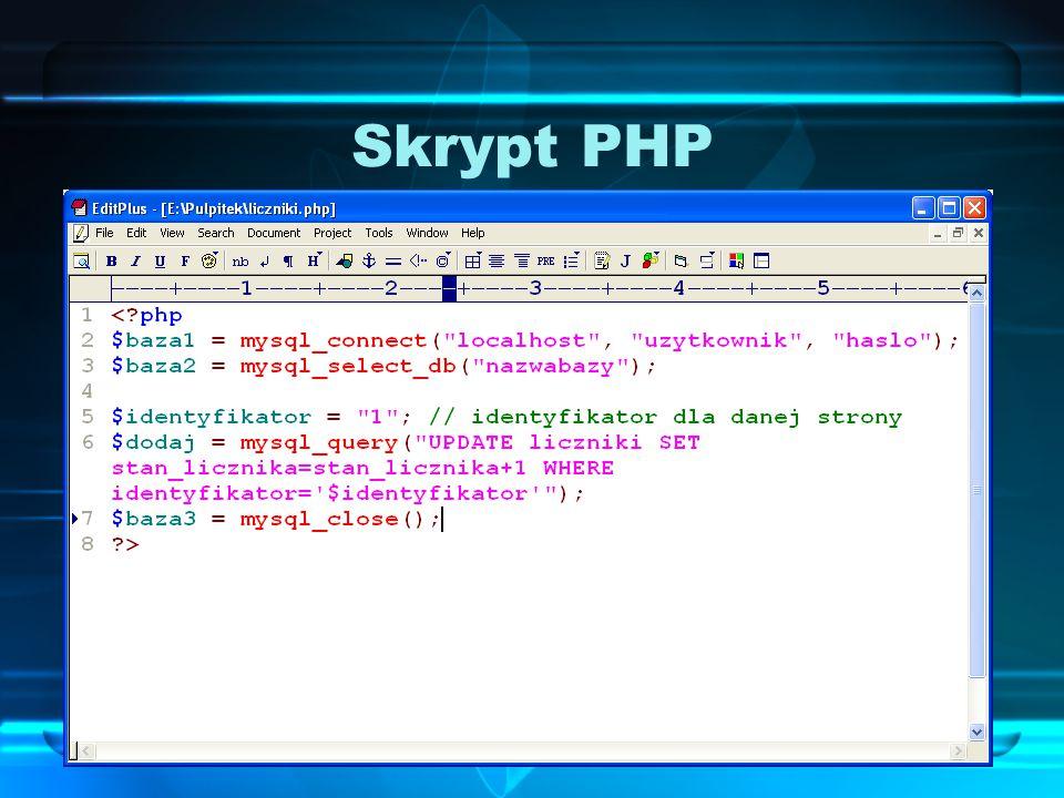 Skrypt PHP Skrypt PHP, który należy dodać do kodu strony, musi połączyć się z serwerem baz danych, wybrać bazę do obsługi, zdefiniować stronę (identyf