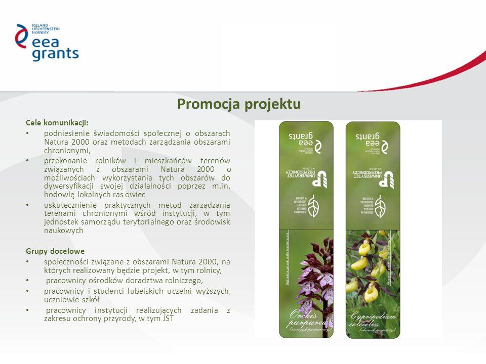 Promocja projektu Cele komunikacji: podniesienie świadomości społecznej o obszarach Natura 2000 oraz metodach zarządzania obszarami chronionymi, przekonanie rolników i mieszkańców terenów związanych z obszarami Natura 2000 o możliwościach wykorzystania tych obszarów do dywersyfikacji swojej działalności poprzez m.in.