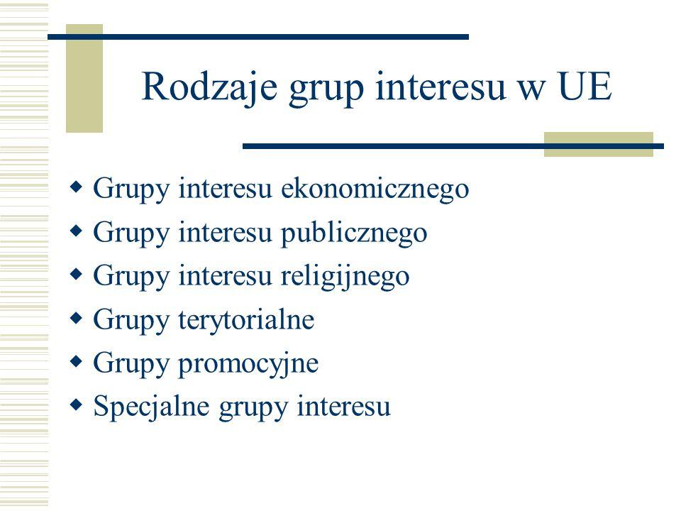 Rodzaje grup interesu w UE  Grupy interesu ekonomicznego  Grupy interesu publicznego  Grupy interesu religijnego  Grupy terytorialne  Grupy promo