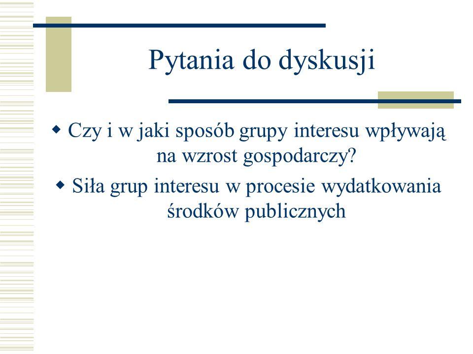 Pytania do dyskusji  Czy i w jaki sposób grupy interesu wpływają na wzrost gospodarczy?  Siła grup interesu w procesie wydatkowania środków publiczn
