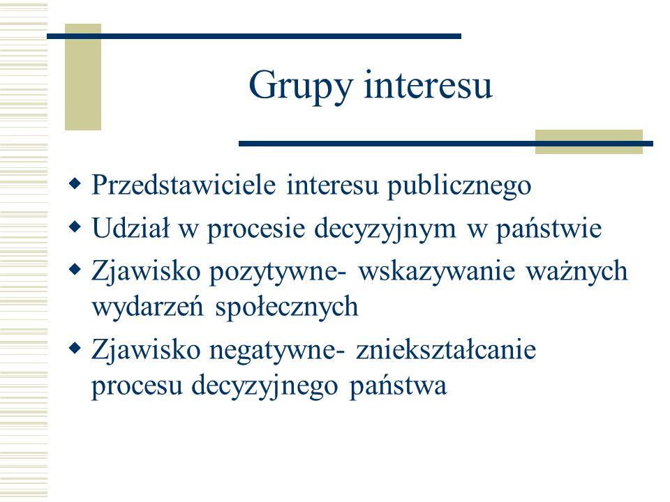Grupy interesu  Przedstawiciele interesu publicznego  Udział w procesie decyzyjnym w państwie  Zjawisko pozytywne- wskazywanie ważnych wydarzeń spo