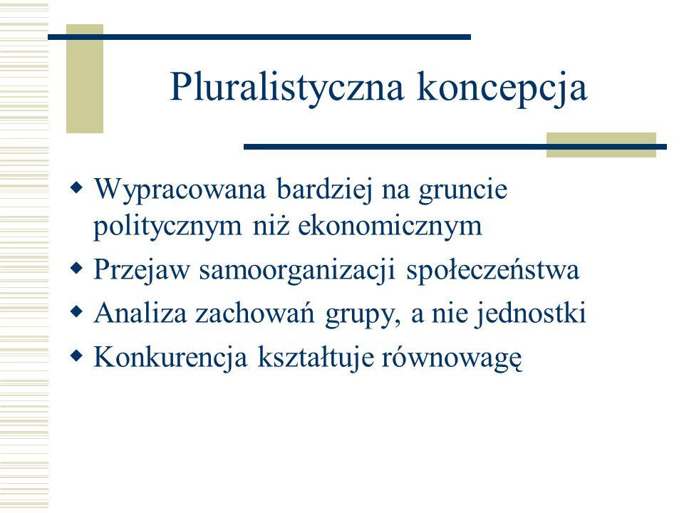 Pluralistyczna koncepcja  Wypracowana bardziej na gruncie politycznym niż ekonomicznym  Przejaw samoorganizacji społeczeństwa  Analiza zachowań gru